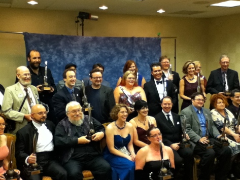 Happy winners at the 60th Hugo Awards. Yes, that's George R.R. Martin in the front row.